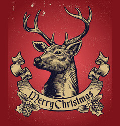 Hand drawing style of christmas deer with text vector