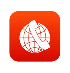 handset and globe icon digital red vector image