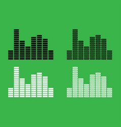 music equalizer icon black and white color set vector image