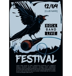 Music poster template for rock concert raven is vector