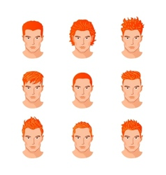 Set different hair style young men portraits vector image