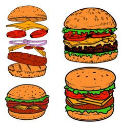 set of burger design elements for postermenu vector image