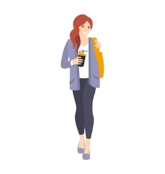 Girl In Leggings And Jacket With Coffee Paper Cup vector image vector image