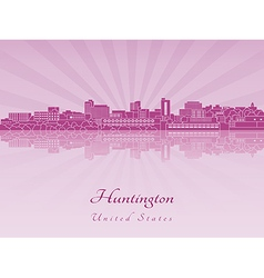 Huntington skyline in purple radiant orchid in vector image vector image