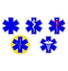 Medical international symbols set star of life vector