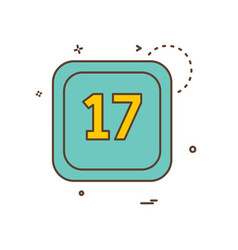 17 date calender icon design vector