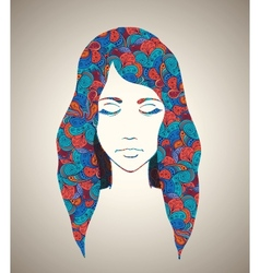 Abstract girl portrait with floral ornament vector image