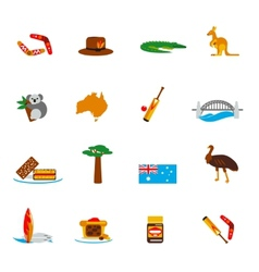 Australia icons set flat vector image