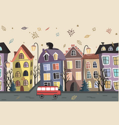 Autumn city houses seamless background old city vector