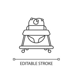 Baby walker pixel perfect linear icon vector