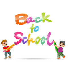 back to school text jelly with two boys vector image