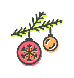 balls christmas toys icon vector image