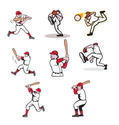 baseball sport mascot cartoon set vector image