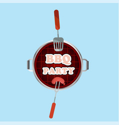bbq party grill top view background image vector image
