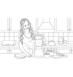 beautiful girl preparing vector image