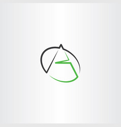 black green a letter line icon logo vector image