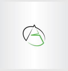 Black green a letter line icon logo vector