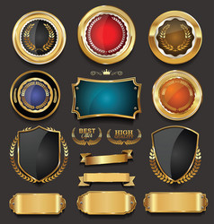 Blank golden frame badge and label collection vector
