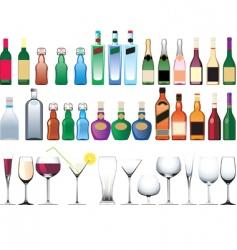 bottle glasses vector image