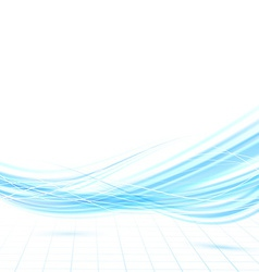 Bright swoosh blue wave lines background vector image