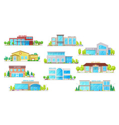 building icons dental and vet medicine clinic vector image