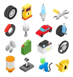 Car service maintenance isometric icons vector