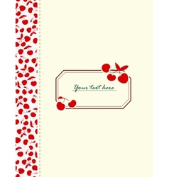 Card with cherries for your design vector image