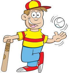 Cartoon boy with a baseball and bat vector image
