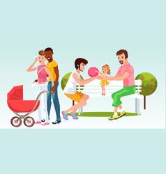 Cartoon families homogenderual couples resting vector
