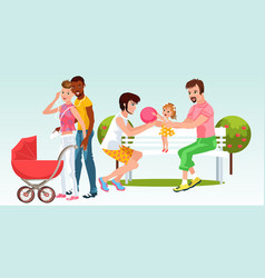 cartoon families of homogenderual couples resting vector image