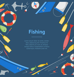 Cartoon fishing banner card vector