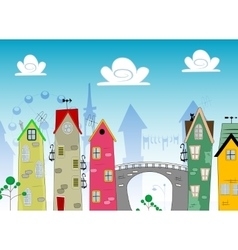 Cartoon Landscape Town vector
