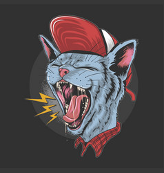 Cat kitty scream over rock n roll punker artwork v vector