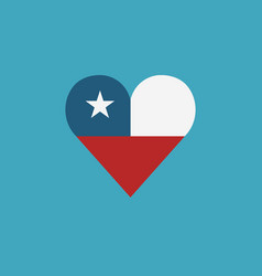Chile flag icon in a heart shape in flat design vector