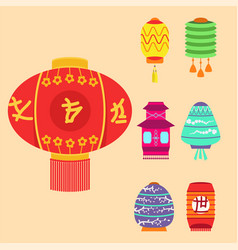 chinese lantern collection set paper vector image