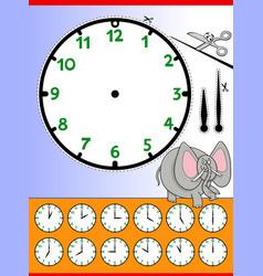 Clock face cartoon educational worksheet vector
