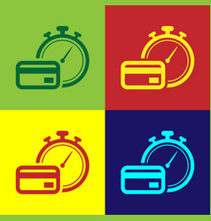Color fast payments icon isolated on color vector