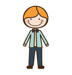 Color silhouette cartoon blonded guy with jacket vector