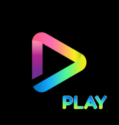 Colorful icon play logo isolated background vector