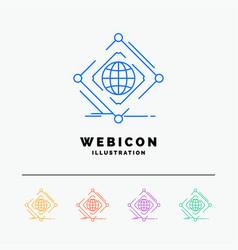Complex global internet net web 5 color line web vector