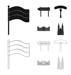 country germany blackoutline icons in set vector image