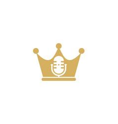 Crown podcast logo icon design vector