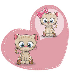 Cute cartoon dreaming kitten vector