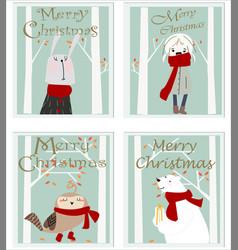 cute kid merry christmas cartoon card vector image