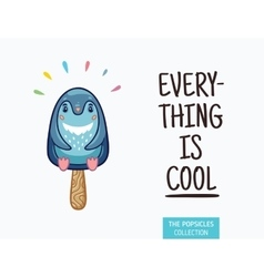 Cute penguin popsicle ice vector