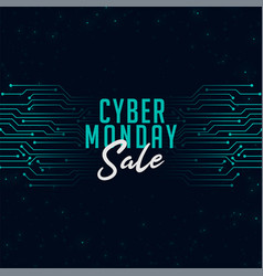 cyber monday sale in technology style background vector image
