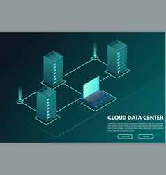 Data center isometric banner with computer and vector