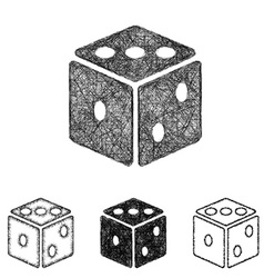 Dice icon set - sketch line art vector