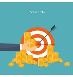 ector Flat header Target coins vector image