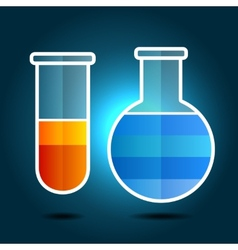Education chemistry themed infographic with flasks vector